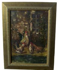 W513 Late 19th century  Oil on Canvas, of Chickens,  original gold gilt frame, signed by artist Anthony Lynn