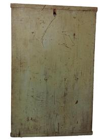 "A114 19th century Dough Board/ cutting board   with early paint, it is one board which is 19 1/2"" wide  30"" long  with bread board ends., it has a hold for hanging"