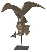 "C174 19th century  small body copper eagle weather vane. The gold gilted  surface is great and the base has the original Directional. This eagle was found in New Jersy . circa 1870-1880 Measurements are: 15"" wide x 15"" deep x 11"" tall with out stand"