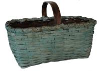 "C49 Gathering basket with the original blue paint double wrapped rim steamed and bent and notched Measurements are 10 1/2"" tall x 16"" long x 11"" wide"