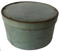 "F205 Pantry box - thick steamed and bent walls with tiny square nails and tack construction  in a light blue/green paint.  Measurements: 10 1/2"" diameter x 5 1/2"" tall"