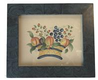 (M740) Theorem painting on velvet. The artwork is bright and in the classic style of a basket with fruits. It is in very nice condition. The creamy aged velvet has no holes and is not signed by the artist.
