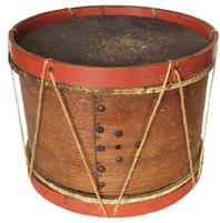 RM335 19th century Childs size original painted Military Field Drum Snare drum made of stretched hide on one side and paper on the other.