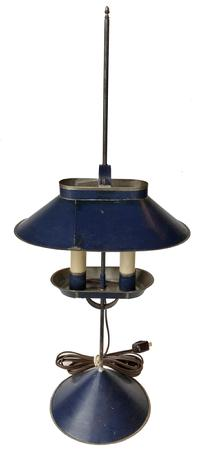D527 Jeremy Martin tin student lamp  adjustable lamp ,with two electrified candles and signed �JM� on base,  10�x 6 ¾�x 23 ¾�