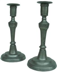 "X213 A pair of 18th Century pewter candlesticks with removable drip tray  10 1/2"" tall (stamped on  base C F)"