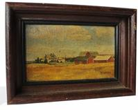 C494  Small early 20th century Oil on canvas of a farm scene in Carolina County Maryland , in original frame.