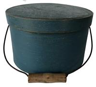 "E372  19th century bail handle pantry box.  This is a beauty! The box retains the original lid and bail handle. Everything is sturdy and stable. The original blue paint is beautiful!  Measurements are: 9 1/4"" diameter x 5"" tall"