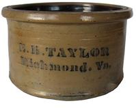 "Stoneware butter tub , Stenciled ""E.B. TAYLOR / Richmond, Va.,"" attributed to A.P. Donaghho, Parkersburg, WV, circa 1880, decorated with E.B. Taylor merchant stenciling in cobalt. with a small in-the-firing stone ping on exterior of base  and a chip on base 9 1/2� diameter x 5 1/2� tall"
