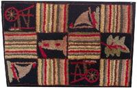 "New England Hooked rug of sailed boats and Light Houses, mounted on frame 23 1/2"" x 35 3/8"""