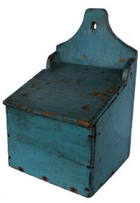 "D19 Mid 19th century New England over size, hanging  Wall Box / Salt Box. with a shaped top with a hole for hanging ,Signed by maker on the back, in old blue paint, square head nail construction, circa 1840 Measurements are: 16"" tall x 10"" wide x 6 1/2"" deep"