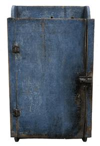"F79 Late 19th century single door Hanging Cupboard in the original Paint found in Western Pennsylvania, Measurements are 13"" wide x 24 1/2"" 24 1/2 x 6 1/2"" deep"