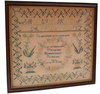 "V49 Mid 19th century Sampler Catharine Young ( Go thou and pluck the roses while they blum, my hopes lie buried in the silent Tomb )  Phila. area Measurements are 18"" x 19 1/2"""