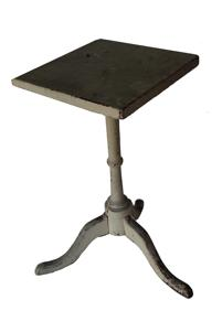 C66 18th century New England  Candle Stand in old oyster white paint, the top is one board , the wood is walnut , The delicate square  top is held in place with tee nails , that receives the graceful baluster turned pedestal on a tripod cabriole legs ending in slipper feet with full pads Measurements are 14 1/2� x 13 1/2� x 27� tall