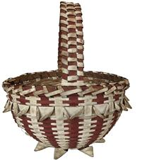 E492 Early PASSAMAQUODDY MAINE Native American Indian splint Ash red and white painted basket. Wonderful vibrant colors!! Rare form with woven feet, measurements 14 1/2� tall 13� diameter