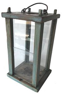 "RM1023 ( Early 19th century Pennslyvania hand made Lantern with four window lights that   , in old blue paint , with sliding glass for opening   Measurements are: 17 1/2"" tall x 8"" wide x 7 1/2"" deep"