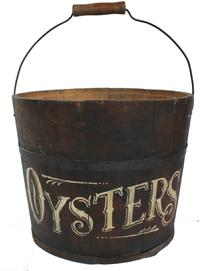 RM677 19th century New England Shaker Bucket,  with Oyster painted on the exterior , reinforcement on the interior for carrying weight