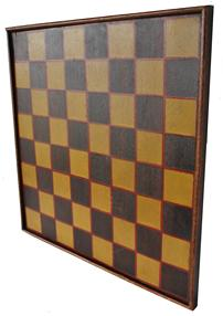 "C334 Mid 19th  century Southern VA. walnut wood Game Board,  with the original yellow squares,  trim in bittersweet red,  on walnut wood, applied walnut molding held in place with square head nails circa 1850 beautiful old patina on the back 14 1/4"" x 14"""