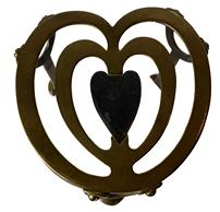 "F92 19th Century Footed. ANTIQUE BRASS TRIVET.  brass and iron heart shaped trivet, with maker's mark n bottom  , 5""long  x 4"" tall"