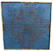 D558 Parcheesi  Game Board, original blue and red paint,  applied moldings unknown maker, American Circa 1880 the back side has two dovetailed tapered batons measurements 23� x 23 1/2� x 1  1/4� thick