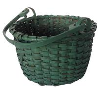 A162 19th century wonderful original green painted hickory splint swag handle Basket from the collection of Prof. Charles Thomas  in Leymaster Pennsylvania. This wonderful original green painted Basket has a single wrapped rim, , the handle is steamed and bent and hand carved,