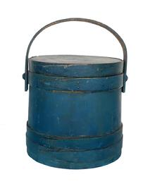 "E370 19th century original blue painted  Covered Wooden Firkin, tongue and groove softwood staved sides, tapered lap joint wood bands,helded in place with copper tacks with bent wood handle with wood peg attachments, 9 1/2"" diameter x 10"" tall"