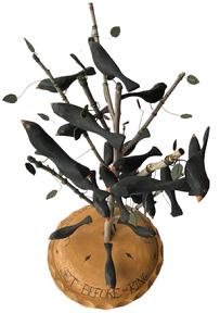 "F183 Great piece of Americana, 24 hand crafted black birds, resting a on a limb, in a Pie ""Four and twenty Black birds setting before the King Signed and dated by maker M. Dallas 91  10"" diameter x 20"" tall"