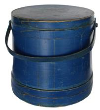 "Z472 Large  New England original blue painted  Covered Wooden Firkin, tongue and groove softwood staved sides, tapered lap joint wood bands, bent wood handle with wood peg attachments, 14"" high . 14 "" diameter and bottom  14 3/4"""