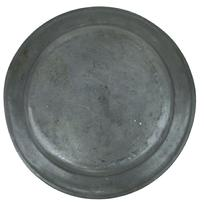 "U404  Large 18th Century Pewter Charger 16 1/2 inches diameter  1"" deep, with 2 1/4"" rim with bead around edge."