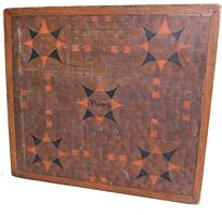 B400 Late 19th century Game Board Parcheesi and checkerboards Single board with applied molding ,the wood is figured wood with black and and pumpkin paint