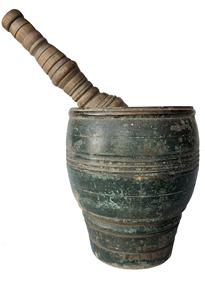 RM980 Fabulous Late 18th Century Mortar and Pestle in beautiful dry Windsor green  paint with bold turnings!  This a very solid  wood mortar and pestle dating from the late 1700's.-1820 .    Wonderful size and proportions with great paint! the overall height is 12 1/2� tall 6� diameter