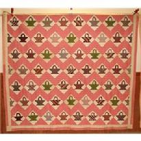 "S351 BASKET PATTERN QUILT. Decorated with pink, cranberry, white, green, & brown colors, from Delaware  83"" x 93"""