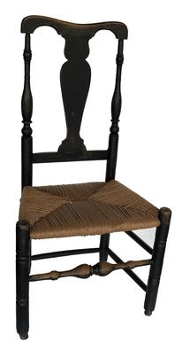 "E329 Early 18th century New England Banister Back Chair, 19th century black paint , replaced rush seat, robust turnings,l circa 1740 Measurements are  39 1//2"" tall x 20 1/2"" wide x 15 1/2 ""  seat high !7"" deep"