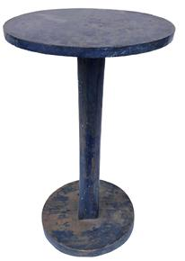 "E138 Early 19th century Maine Candle Stand in old blue paint , the wood is pine. Primitive stand with round base and top and chamfered edge column. the bottom of the stand is mortised to the column, the top has baton which is mortised into the top to keep the top from wrapping, worn blue paint. 29.5""high . 17""diameter ."