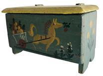 E83 Mid 20th century small hand decorated painted miniature wooden Chest. painted and signed by Steven Agnes Hall Vermont