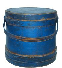Z84 19th  Firkin  American, 2nd half-19th century. Stave constructed with lids and bale handles. Worn blue