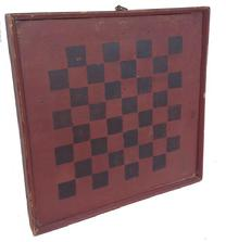 Z324 19th century New Englan Game Board  with original  red and black paint with applied molding held in place with square head nails wonderful small size
