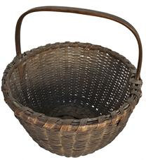 "D244 Early gathering Basket with wonderful old dry naturial patina, well made with a steamed and bent handle with side knotches to lock the handle  in place. The rim is single wrapped with a reinforced bottom.13"" tall x 11 1/2"" diameter"
