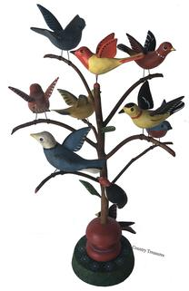 "D499 Pennslyvania Bucks County, Bird  Tree with ten hand carved  Birds with leaves. All birds have raised wings, except for one, viibrant colors the blue bird has a heart on the tail and head, with a beautiful turned and decorated base 19 1/2"" tall"