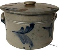 "D534 19th century  Philadelphia, PA, circa 1865, Cobalt-Decorated Stoneware Cake Crock with Lid, Remmey , crock with  ribbed lug handles, decorated with brushed cobalt on the front and all around . Paired with a fitting Remmey lid also decorated. chip on rim of crock .,  7"" h., 9 1/2"" diameter"