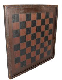 B2 19th century Game Board, one board , with applied molding all etched squares,  original Spanish brown and black paint circa 1850