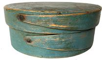 Robin egg blue Pantry Box, mid 19th C, New England.  Opposing fingered body & lid, tacked &  wood pegged construction.  Dry, original blue never painted over original surface patina.