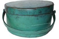 "D128  New England  original blue/teal  painted wood handle Pantry Box tacked lap joint bent wood swing handle with wood peg attachment.Measurements are:12"" diameter x 6 1/2"" tall"
