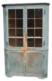 Q350 18th century Talbot County Maryland  Corner Cupboard. Original blue paint and  16 window lights with molded mullions. Rose-head nailed and pegged  construction.