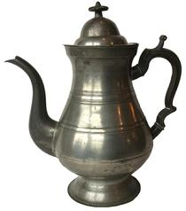 A485  Early 19th century  pewter  teapot, stamped S.Simpson #1 (Samuel Simpson 1835 to 1852, New York and Yalesville, Connecticut).
