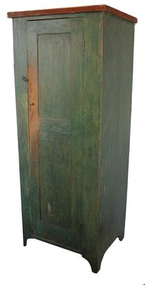 C29 19th century Shenandoah Valley Virginia one door Chimney  Cupboard in the original green paint , interior natural patina, one board  white pine  construction, nice high cut out foot, double panel door with full mortised and pegged construction, square head nails.