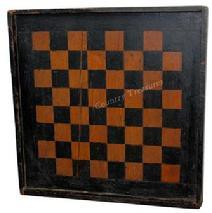 C394 19th century Virginia Game Board, with original black and salmon paint, with applied molding, the wood is white pine and walnut, circa 1880