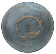 "W19 Wooden Bowl Small size 19th century wooden Bowl with the original dry blue/gray paint, and shows wonderful lathe marks measures 14"" diameter out of round, small age crack tight"