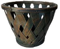 F148 Shaker gathering Basket has a gorgeous green painted surface .  The Basket is hand woven with thick oak wooden slates in a diamond pattern and is well constructed and heavy . There is a circular oak wooden bottom board.. The bentwood bands are secured by age appropriate tack
