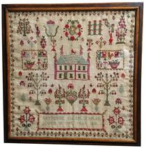 "D317  19th century Sampler made by Catherine Allan Sehraa bewed in the year 1830  Measures 18"" tall x 18"" wide"