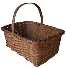 MZ5 19th Century  splint oak Lovely rectangular  gathering basket  with good natural patina ,  nice and tight weaving, heavy construction, single wrapped rim,
